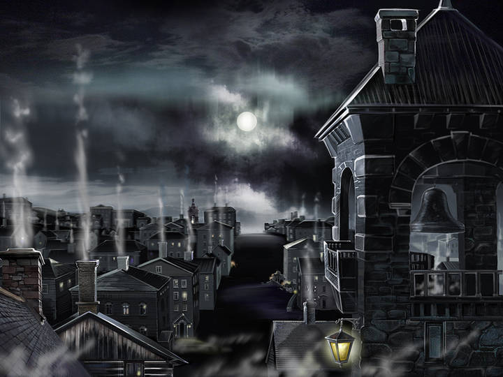 Arkham. Illustration for the home page of the website